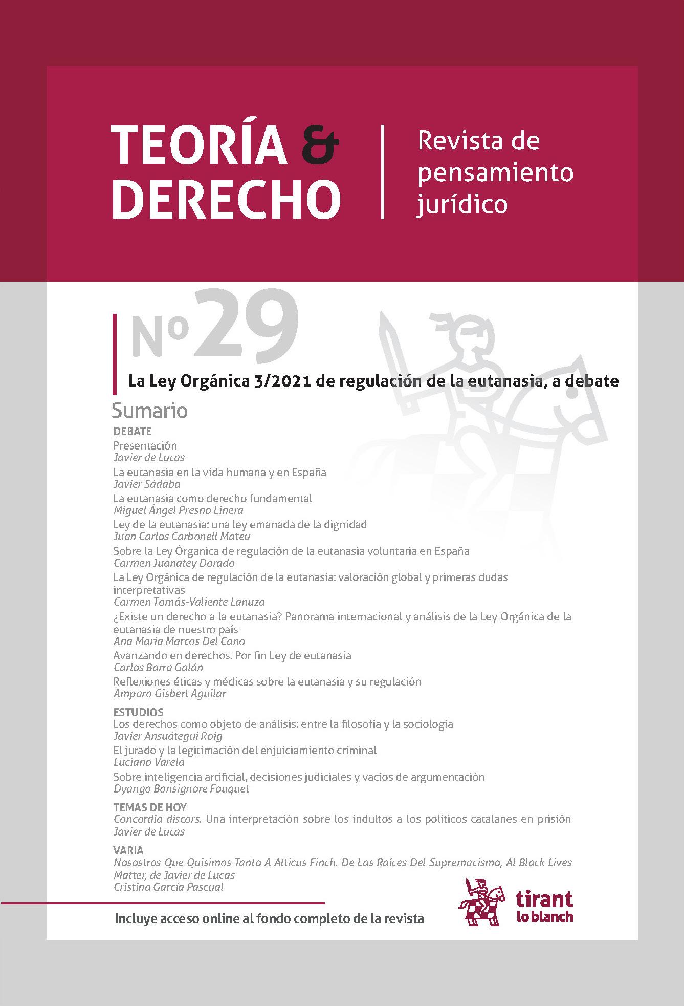 Ver Núm. 29 (2021): La Ley Orgánica 3/2021 de regulación de la eutanasia, a debate